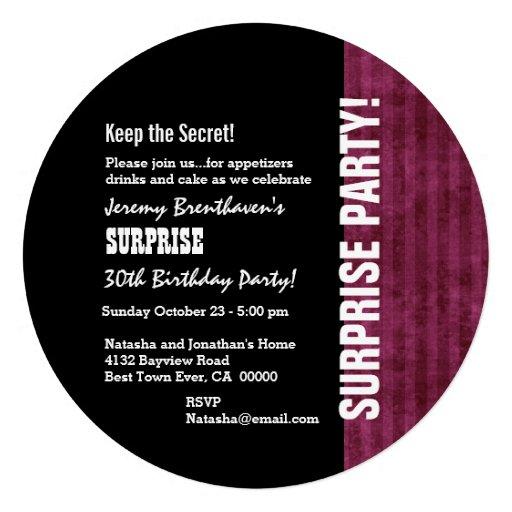 SURPRISE 30th Birthday Modern Wine Grunge Stripes Custom Invites