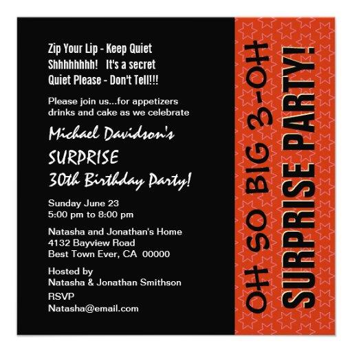 SURPRISE 30th Birthday Orange Stars Recycled Invitations   Zazzle: www.zazzle.com/surprise_30th_birthday_orange_stars_recycled...