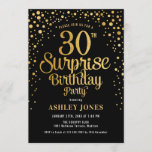 """Surprise 30th Birthday Party - Black & Gold Invitation<br><div class=""""desc"""">Surprise 30th Birthday Party Invitation. Elegant design in black and faux glitter gold. Features stylish script font and confetti. Message me if you need custom age.</div>"""
