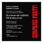 SURPRISE 30th Birthday Party Black Red Metallic Custom Invitations