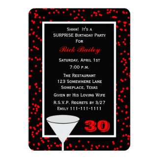 Surprise 30th Birthday Party Glass with Confetti 5x7 Paper Invitation Card