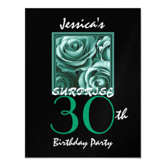 SURPRISE 30th Birthday Party Gold Roses S517 Card