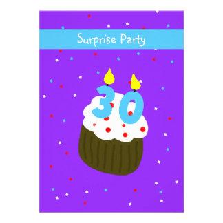 Surprise 30th Birthday  Party Invitation - Cupcake Personalized Invites