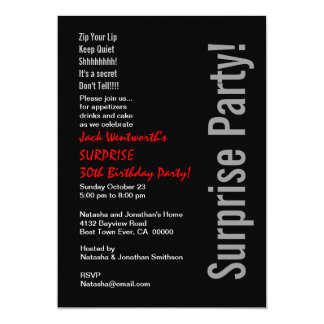 SURPRISE 30th Birthday Party Modern Template 5x7 Paper Invitation Card