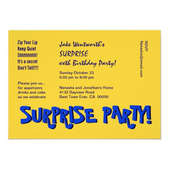 SURPRISE 30th Birthday Party Modern Yellow Blue Card