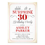 Surprise 30th Birthday Party - White Red Black Invitation