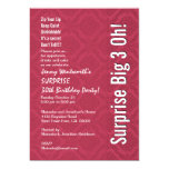 SURPRISE 30th Birthday Red and White Damask Personalized Announcements