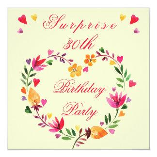 Surprise 30th Birthday Watercolor Floral Heart 5.25x5.25 Square Paper Invitation Card