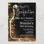 """Surprise 30th Birthday Wine Aged to Perfection Invitation<br><div class=""""desc"""">Surprise 30th Wine Birthday Invitation. Aged to Perfection. Red Wine. Wine Tasting Invitation. Black and Gold Glitter Champagne. 18th 20th 21st 30th 40th 50th 60th 70th 80th 90th 100th,  Any Ages. For further customization,  please click the """"Customize it"""" button and use our design tool to modify this template.</div>"""