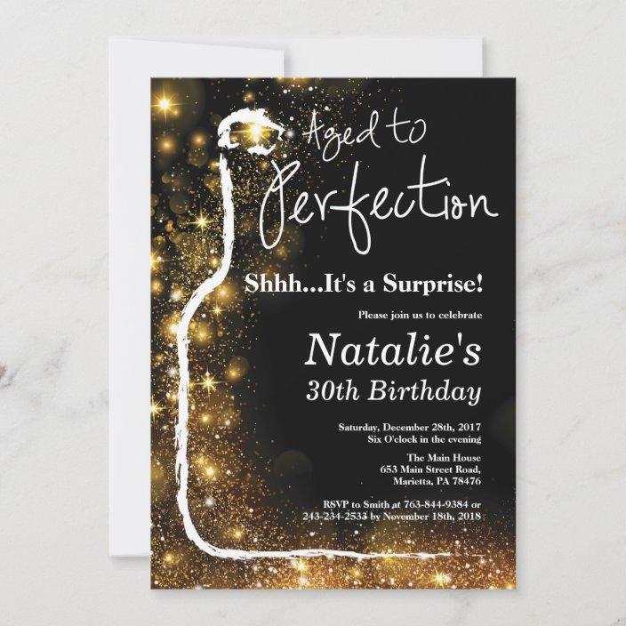 surprise 30th birthday wine aged to perfection invitation zazzle com