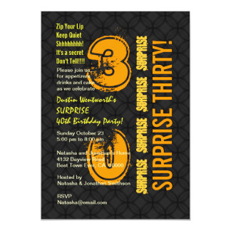 SURPRISE 30th Modern Birthday Black and Gold E002 Card