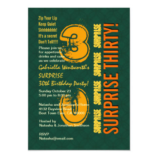 SURPRISE 30th Modern Birthday Green and Gold G431N Personalized Invitation