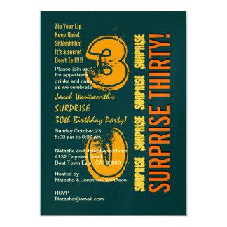 SURPRISE 30th Modern Birthday Green Orange W1485 Card