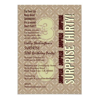 SURPRISE 30th Modern Birthday Wood Tone Pattern 3N Card
