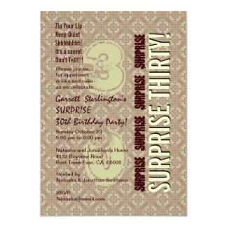 SURPRISE 30th Modern Birthday Wood Tone Pattern V2 Card