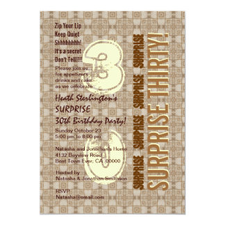 SURPRISE 30th Modern Birthday Wood Tone Pattern V3 Card