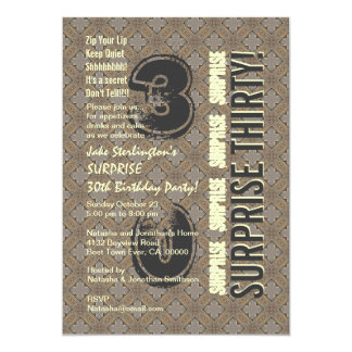 SURPRISE 30th Modern Birthday Wood Tone Pattern V4 Card