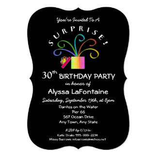 SURPRISE! 30th or Any Age Black Birthday Party Card