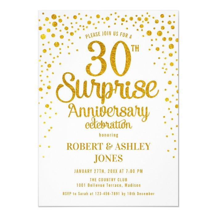 Surprise 30th Wedding Anniversary Gold White Invitation Zazzle Com