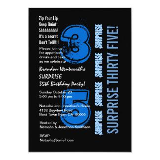 SURPRISE 35th Modern Birthday Blue and Black 5x7 Paper Invitation Card
