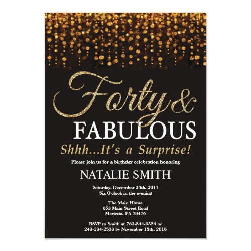 Surprise 40th Birthday Forty and Fabulous Gold Invitation