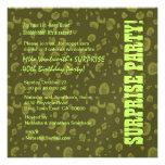 SURPRISE 40th Birthday Green Camo Confetti Personalized Invitation