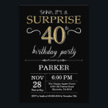 "Surprise 40th Birthday Invitation Black and Gold<br><div class=""desc"">Surprise 40th Birthday Invitation with Black and Gold Glitter Background. Chalkboard. Adult Birthday. Men or Women Bday Invite. Any age. For further customization,  please click the ""Customize it"" button and use our design tool to modify this template.</div>"