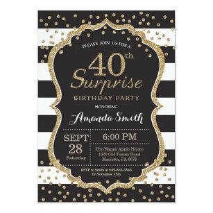 40th birthday invitations zazzle surprise 40th birthday invitation gold glitter invitation filmwisefo
