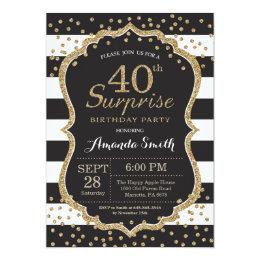 Surprise 40th Birthday Invitation. Gold Glitter Card