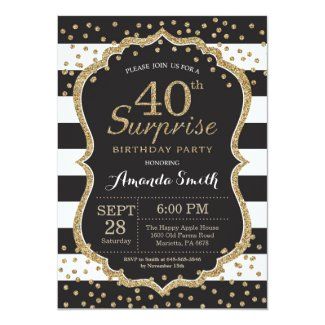 Surprise 40th Birthday Invitation. Gold Glitter Invitation