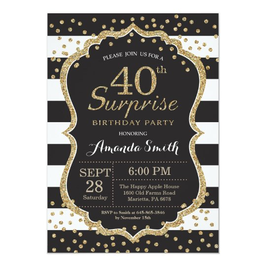 surprise 40th birthday invitation gold glitter invitation zazzle com