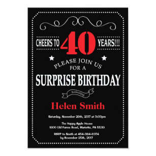 Surprise 40th Birthday Invitation Red And Black