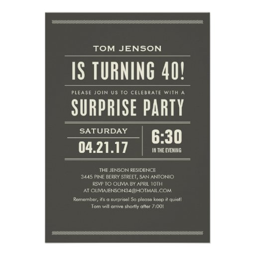 Surprise 40Th Birthday Invitations can inspire you to create best invitation template