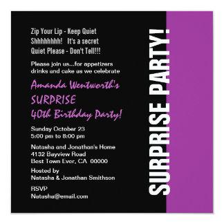 SURPRISE 40th Birthday Modern Black Purple W1466 Invitation