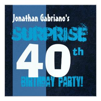 SURPRISE 40th Birthday Modern Blue W566 Invite