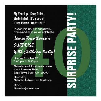 SURPRISE 40th Birthday Modern Green Flower Pattern Custom Invitations