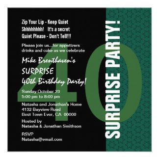 SURPRISE 40th Birthday Modern Green Little Stars Invitation