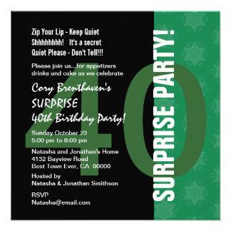 SURPRISE 40th Birthday Modern Green Star Pattern Invites