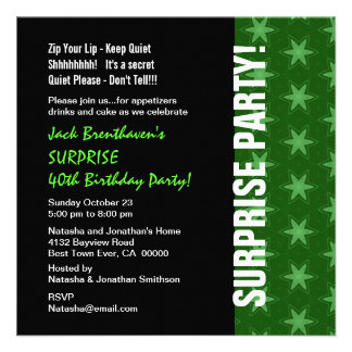 SURPRISE 40th Birthday Modern Green Stars W1682 Custom Invitations