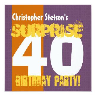 SURPRISE 40th Birthday Modern Square Pattern Card