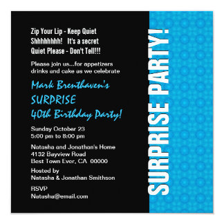 SURPRISE 40th Birthday Modern Turquoise Blue W1435 Card
