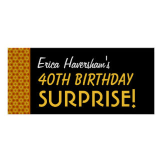 Surprise 40th Birthday or Any Year Gold Stars Poster