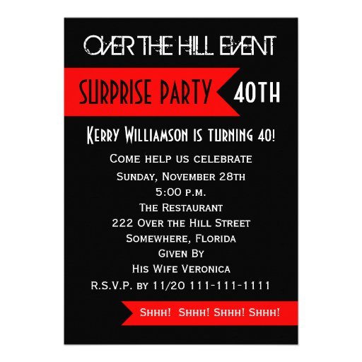 Surprise 40th Birthday Party Invitation