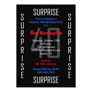 Surprise 40th Birthday Invitations Announcements Zazzle