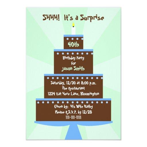 Surprise 40th Birthday Party Invitation Cake