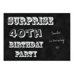 Surprise 40th Birthday Party Invitation Chalkboard Personalized Announcements