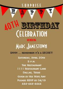 surprise 40th birthday invitations zazzle