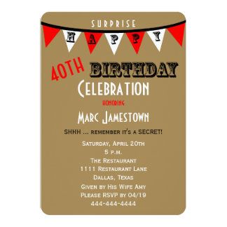 Surprise 40th Birthday Party Invitations Bunting