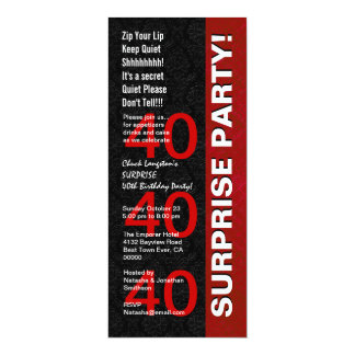 SURPRISE 40th Birthday Party Modern Black Red V05 Card