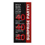 SURPRISE 40th Birthday Party Modern Black Red V05 Invites